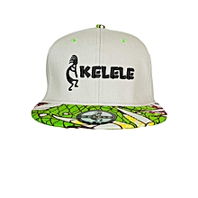 Light Grey And Green Snapback Hat With Kelele Colors On Brim