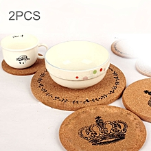 2 PCS Round Cork Coasters Cup Cushion Holder Drink Cup Place Mat  Coasters Wooden Holder Pad Crown Pattern Cup Mat Round Cork Coaster, Size: 19*1cm