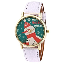 Christmas Snowman Pattern Leather Band Analog Quartz Vogue Watches WH-White