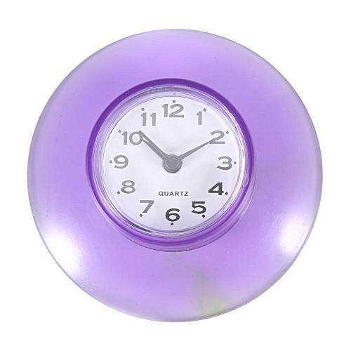 Bathroom Kitchen Mirror Suction Wall Clock Shower Waterproof Quartz Clocks Decoration Purple