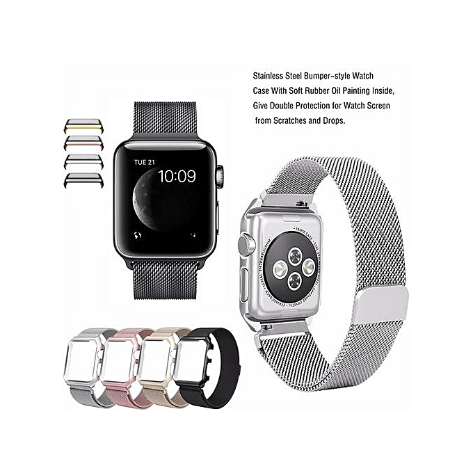 new product 67077 7b52d Colour :Gold--Fashion Watch Strap For Apple Watch Band 42mm Milanese Loop  Stainless Steel Mesh Magnetic Wrist Band With Case For IWatch