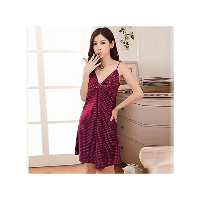 995b89da1a9 Fashion New Sexy Women s Satin Nightdress Pajamas Nightgown Sleepwear  Lingerie Robe (Chinese Rose)