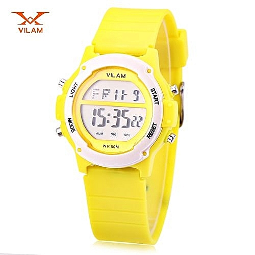 Digital Sports Watch LED Light Date Day Chronograph Display 5ATM  Wristwatch-YELLOW