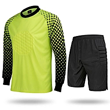 Hot Sale Men's Football Sports Goalkeeper Jersey Long Sleeves Shirts With Shorts-Fluo Green(SY11)