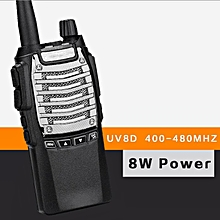 BF-UV8D Walkie Talkie 400-480MHz 8W Power/2800mAh 7.4V 16CH Dual PTT FM Transceiver Black+EU