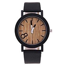 Unisex Quartz Watches Eight Figure Wooden Color Case Leather Strap Watch Wood-Black