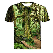 Men Summer 3D T-shirt Green Forest Old Tree Leaf Print Short Sleeve Tee Top-Green.,