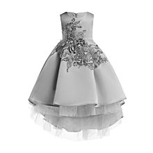 d73fe1c4c9dd Embroidered Dresses For Kids Girls Flower Girl Princess Party Pageant Tulle  Dress - Grey