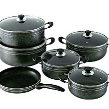 Nonstick Pots - 11 Pieces - Black