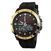 1064E Solar Energy Men Dual Display Quartz Digital Multifunction Waterproof LED Sport Watches - Yellow