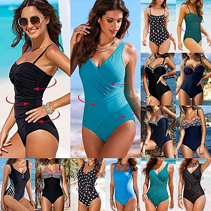 a8c1e185ca37 New Plus Size Swimwear Women One Piece Swimsuit Solid Swimwear Large Size  Vintage Retro Swimsuit Bathing Suits Monokini 4XL(Q804BL)