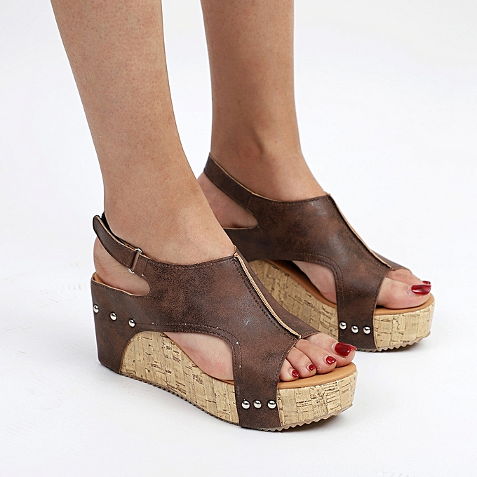 d0de6f9885ba1b ... Xiuxingzi Women Summer Round Toe Breathable Rivet Beach Sandals Boho  Casual Wedges Shoes
