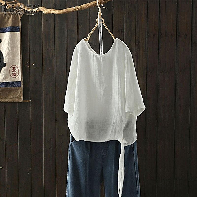 0839c674bb70d ZANZEA Women Plus Size Baggy 3 4 Sleeve Retro Cotton Top Tee T Shirt Blouse  ...