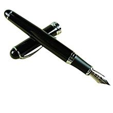 Jinhao X750 Fountain Pen Vivid Black Silver Trim 18kgp Medium Nib Point