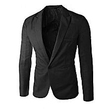 Slim Fit Men's Blazer Jacket -  Black
