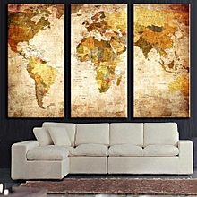 Retro World Map Framed Picture Canvas Print Wall Art Painting Ready To Hang