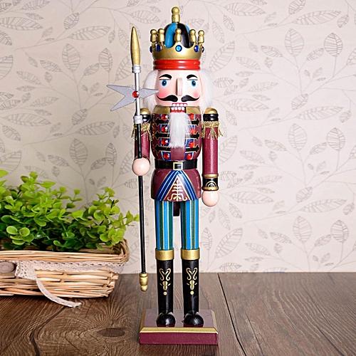 30cm Nutcracker Wooden Soldier Doll Vintage Handcraft Decoration Christmas Giftslong Stick
