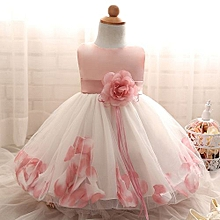 Elegant Baby Girls Dress Fluffy Child Skirt Sleeveless Princess Dress With Flower-Pink
