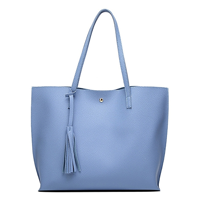 Fashion Pu Leather Bag Large Women Handbags Tassel Ping Tote Female Shoulder Bags Color Blue