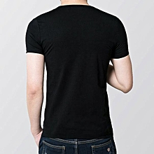 Blouse Mens Slim Fit V Collar T-shirt Short Sleeve Shirt Casual Tee Tops BK L- Black