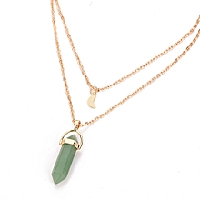 bluerdream-Women Multilayer Irregular Crystal Opals Pendant Necklace Choker Chain-Green