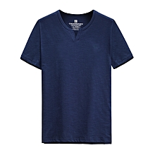 Men's Leisure Pure Cotton Short Sleeved T-shirt Large Size Fashion V-collar Breathable Loose Tops