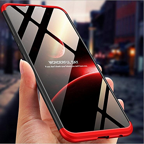 For VIVO Y91/ Y91i/ Y95 Hard Combo Dual Armor Full Protection Slim Hybrid  Matte Case Cover Casing (Red Black)