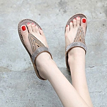 Refined Large Size Women Casual Thong Slipper Summer  Fashion Crystal Flip Flops  Flat Shoes For Ladies -khaki