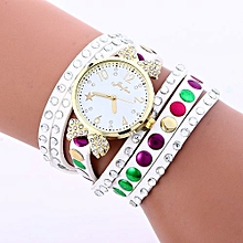 Lady  Leather Wrist Watch Fulaida Fashion Colored Diamonds Leather Bracelet Weaving Lady Womans Wrist Watch WH-White