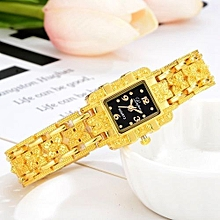 bluerdream-Fashion Women Stainless Steel Crystal Dial Quartz Bracelet Luxury Wrist Watch F-Gold