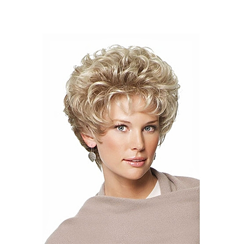 Generic Blonde Curly Hair Short Wigs For Women Gifts Wig Cap Free ... 924575b5d