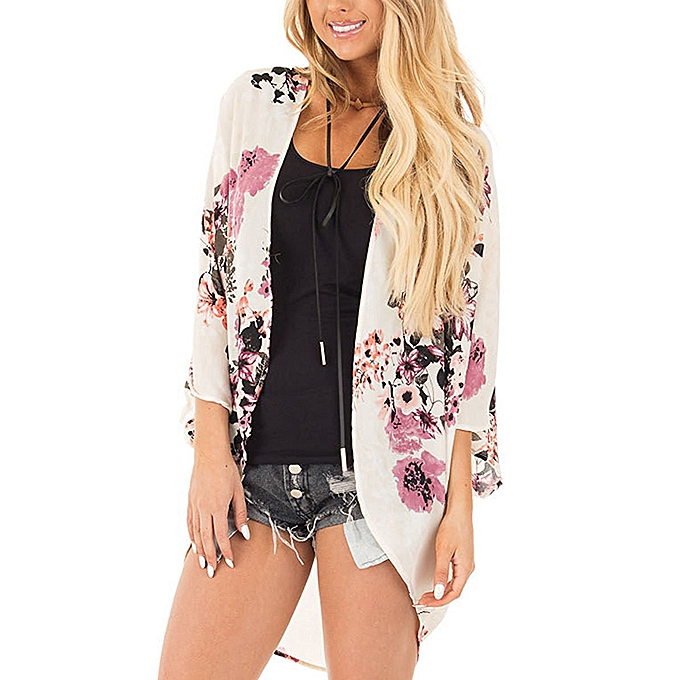 f7cc184169ccc New Women Chiffon Kimono Beach Cover-Up Floral Print Batwing Sleeve Casual  Loose Boho Cardigan