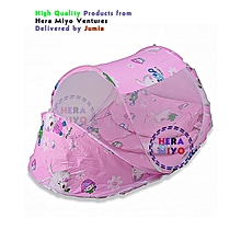 Portable Baby Cot Mosquito Net Crib Bassinet - Colour Pink
