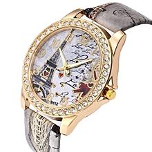 Blicool Wrist Watch Vintage Paris Eiffel Tower Women Fashion Watch Crystal Leather Quartz Wristwatch-grey
