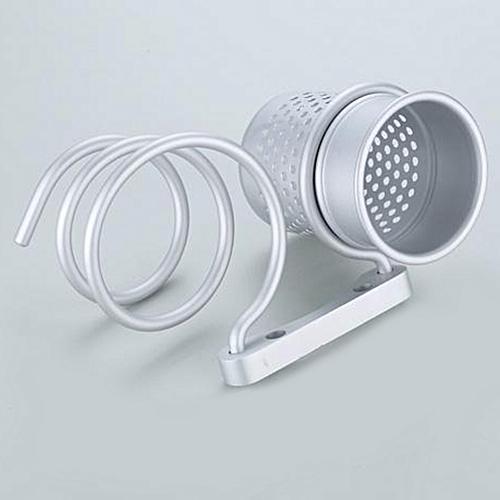 Bathroom Wall Mount Hair Dryer Holder Rack Comb Storage Cutout Cup Organizer