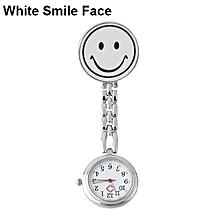 Women's Butterfly Smile Face Quartz Clip-On Brooch Nurse Hanging Pocket Watch-White Smile Face