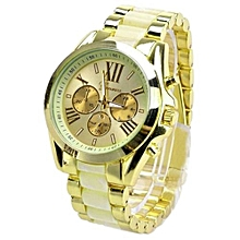 Men's Beige Stainless Steel Band Watch