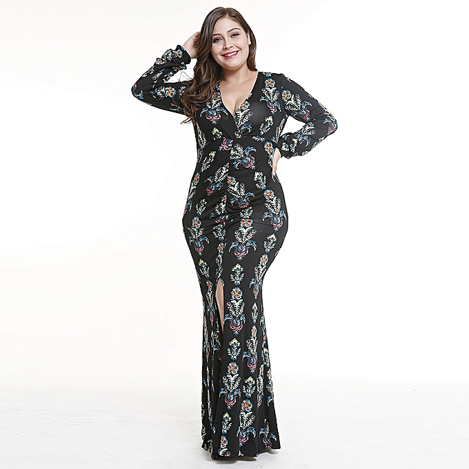 New Bohemian Style Plus Size V-neck Dress