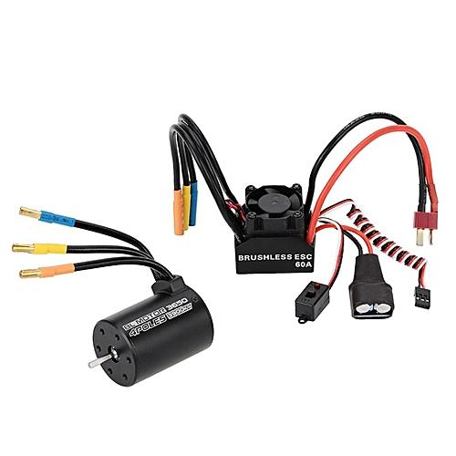 3650 3900KV 4P Sensorless Brushless Motor + 60A Brushless Splash-Proof  Electronic Speed Controller ESC With 5 8V/3A Switch Mode BEC For 1/10 RC  Car