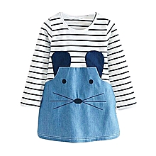 Mini Mode Baby Girls Striped Lovely Dress Mouse Casual Dress long Sleeve