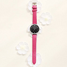 Luxury Women's  LVPAI Wrist Watches Retro Design Leather Band Analog Alloy Quartz Wrist Watch Hot Pink -Sky Blue
