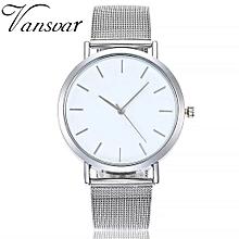 Fohting  Vansvar Casual Quartz Stainless Steel Band Marble Strap Watch Analog Wrist Watch -Sliver