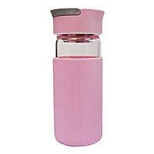 Glass Water Bottle - 370ml - Pink