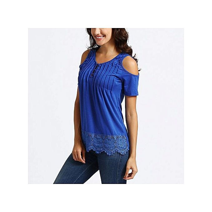 c9dd5f20f72df8 ... Hiaojbk Store Womens Casual V Neck Lace Short Sleeve Tops Cold Shoulder  Blouse BU L ...