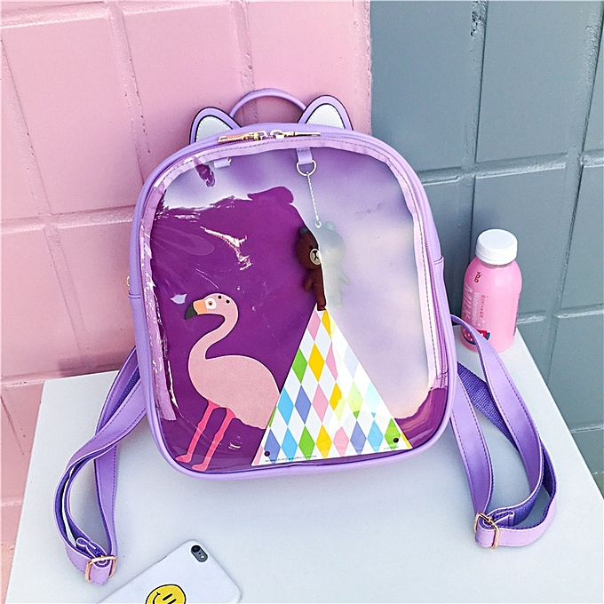 Women Candy Color Cat Ita Bag Korean Clear Transparent Backpack School Bags  for Teenage Girls PU Leather Jelly Backpacks(Violet)