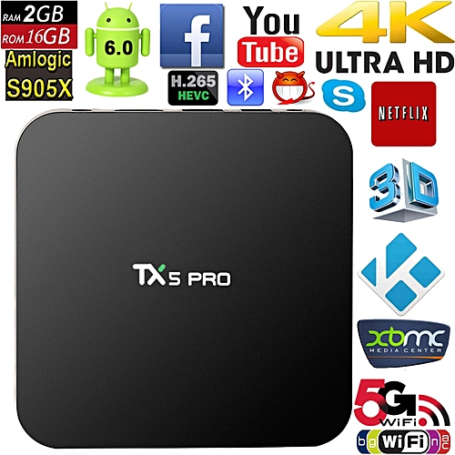 2017 Hot TX5 Pro Android 6 0 Smart player Quad Core Amlogic S905X 1 5GHz 2G  16G Wifi Smart TV Streaming Media Players IPTV Media Player (Black) YCMI-A