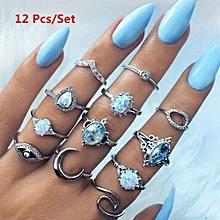 Olivaren 12Pcs Rings Set Natural Gemstone Fire Opal Diamond Ring Wedding Retro Jewelry  -Silver