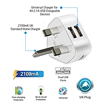 VIM-UK2: White 2100mA Premium Home Charger with Dual USB Ports