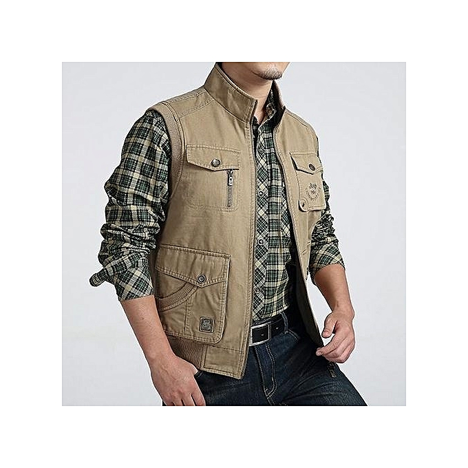 aa5f0f2402a ... AFSJEEP Mens Big Size Casual Outdoor Washed Double Sided Wear Multi  Functions Vest Khaki ...