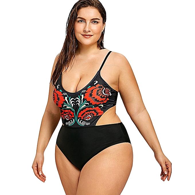 a27f33fc84151 Fashion Floral Plus Size High Leg Monokini - BLACK   Best Price ...